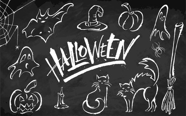Halloween clipart set on blackboard background. Hand drawn pictures, vector illustration. Template for banners, posters, merchandising, cards or photo overlays.