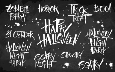 Halloween lettering set on blackboard background. Hand drawn pictures, vector illustration. Template for banners, posters, merchandising, cards or photo overlays.