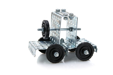 truck tractor toy - metal kit for construction isolated on white background