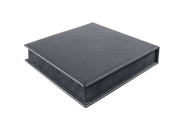 black leather box on white background
