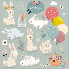 set of cute hares with balloons