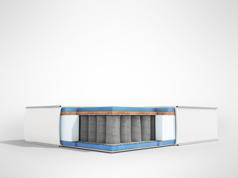 Modern white orthopedic mattress in section with blue filler 3d render on gray background