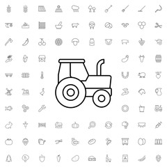 Tractor icon. set of outline agriculture icons.