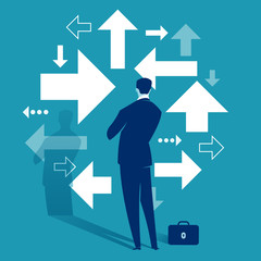 Uncertainty. A businessman looks at arrows pointing to many directions. Concept business vector illustration