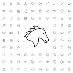 Horse icon. set of outline agriculture icons.