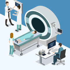 Isometric 3D vector illustration MRI scanner for patients.