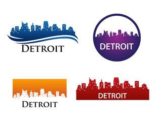 Detroit City Skyline Logo Template