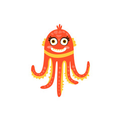 Cute octopus, funny sea creature hand drawn vector Illustration