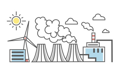 The industrial landscape. Different types of power plants. Thermal power plant with flue pipes and wind power station. Thin line style vector Illustration, isolated on white background.