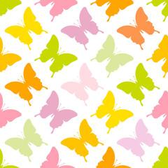 Seamless Pattern Butterflies Green
