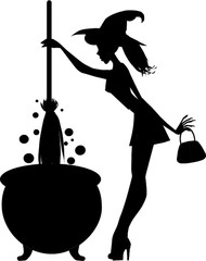 Halloween black silhouette of young witch with cauldron and broomstick isolated on white background. Vector illustration, clip art, icon.