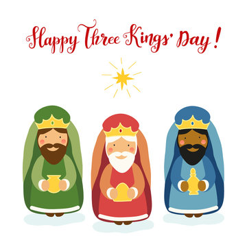 Cute Three Kings' Day card with hand drawn characters