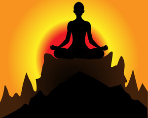 Young woman meditating in lotus pose sitting on mountain peak. Healthy lifestyle and mindful meditation concept illustration vector.