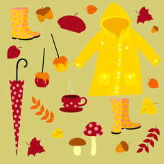 Fall vector illustration. Warm autumn set