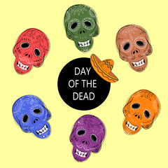 Dia de los Muertos. Day of the Dead sugar skulls