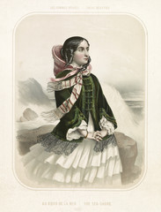 Old illustration depicting woman on the sea shore. By  Alophe, publ. in New York, 1851