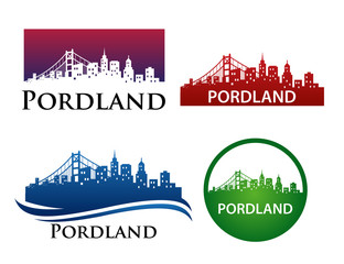 Portland City Skyline Logo Template