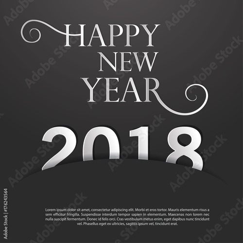 happy new year 2018template for cards and greetingschristmas celebration black and