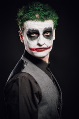 crazy joker face. Halloween