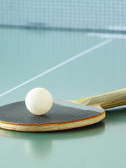 Ping pong racket close up