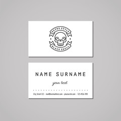 Business card with skull and ribbon black logo (vector).