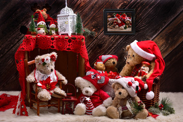christmas teddy bears family in rustic style interior