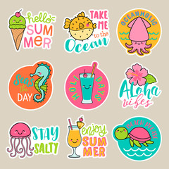Set of cute cartoon badges, colorful fun stickers design, summer holidays concept elements.