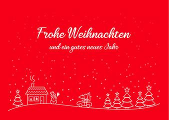 Weihnachten Karte Vorlage mit Winter Landschaft