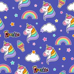 Colorful cute seamless pattern with unicorn, rainbow, star, cloud, ice cream vector