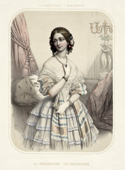 Old illustration of a beautiful woman wearing vintage clothes. By  Alophe, publ. in New York, 1851