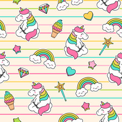 Cute girls fashion patches seamless pattern with unicorn, rainbow, diamond, ice cream, magic wand, star, heart vector
