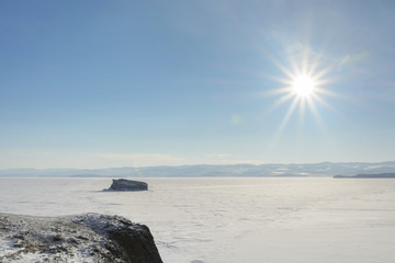Landscape of winter lake Baikal