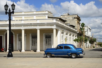 Colonial building development by the main promenade on the old town in Cienfuegos on Cuba.