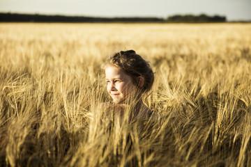 Girl in grain field