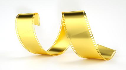 Film negative in gold - 3D rendering