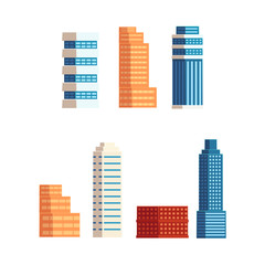 vector flat cartoon different buildings set. Skyscrapers, office centers shopping mall and city apartment houses. Isolated illustration on a white background