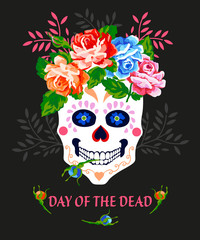 Day of the dead invitation vector poster. Dia de los muertos.
