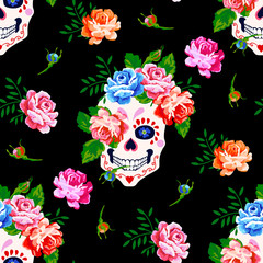 Seamless pattern with skull and rose. Floral skull background