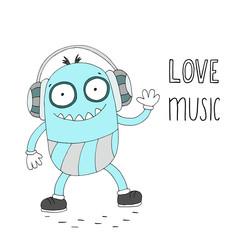 Love music card. Hand Drawn cute cartoon Smiling monster.