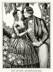 Old illustration depicting reconciliation between man and woman in love. Publ. 1846