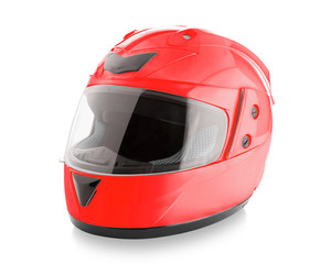 Motorcycle helmet over isolate on white with clipping path.