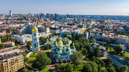 Wall Murals Kiev Aerial top view of St Sophia cathedral and Kiev city skyline from above, Kyiv cityscape, capital of Ukraine