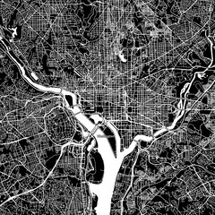 Washington, District of Columbia. Downtown vector map.