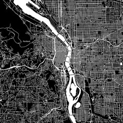 Portland, Oregon. Downtown vector map.