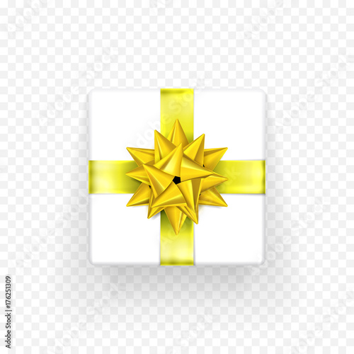 gift box with golden or yellow bow ribbon isolated icon for birthday new year or