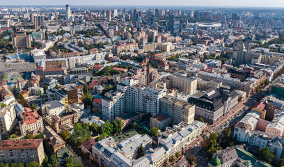 Aerial top view of Kiev city skyline from above, Kyiv center downtown cityscape, capital of Ukraine