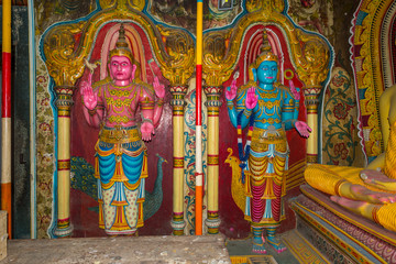Old murals inside the caves of the Buddhist temple and monastery Mulkirigala Raja Maha Vihara. The complex exist since 1500 years and is the most important cultural-historical temples of the region