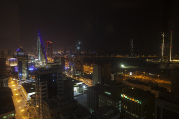 Night skyline of Manama, the Capital city of Bahrain