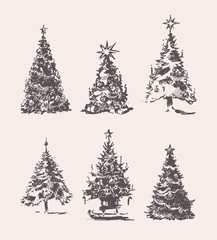 Set drawn Christmas Trees vintage vector sketch