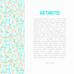 Arthritis concept with thin line icons of symptoms and treatments: pain in joints, obesity, fast food, alcohol, medicine, wheelchair. Vector illustration for banner, web page, print media.